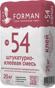 Штукатурно-клеевая смесь Форман 54 (Forman 54) для теплоизоляции, 25 кг